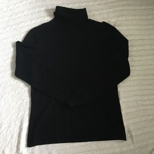 Casual Corner Silk/Cashmere Black Turtleneck Sz L